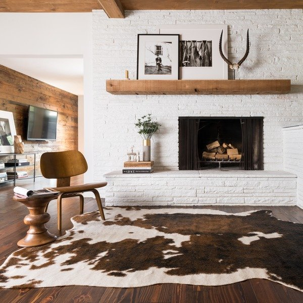 Natural Genuine Cow Hide Rug Brown 200x200cm Rox