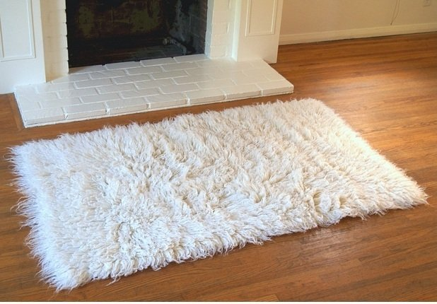 Original New Zealand Wool Flokati Shag Rug Natural